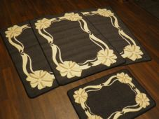 ROMANY GYPSY WASHABLES NEW 2017 BOW/RIBBON FULL SET OF 4 MATS/RUGS GREY/CREAMS